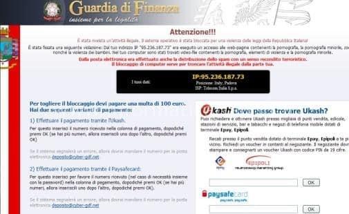Schermata del virus della Guardia di Finanza