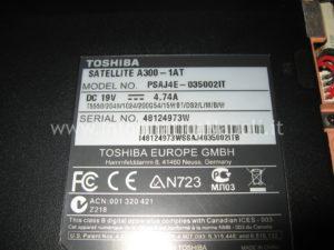 Etichetta Toshiba Satellite A300 1AT