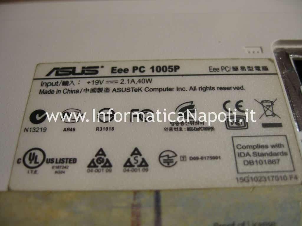 pulizia Asus Eeepc 1005p