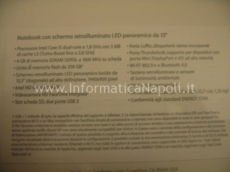 caratteristiche apple macbook air napoli