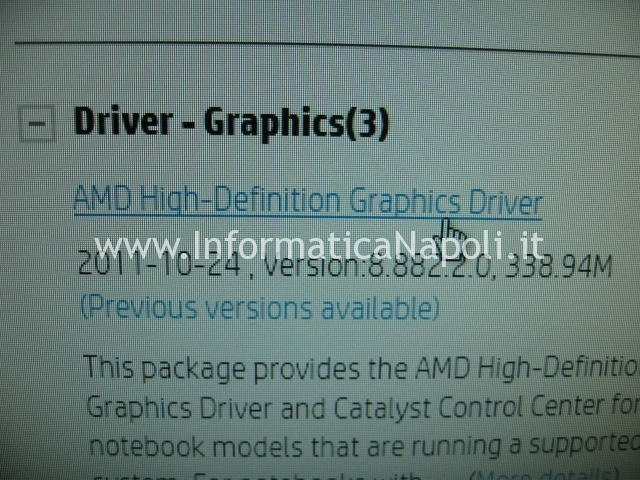 driver scheda video hp pavilion serie g