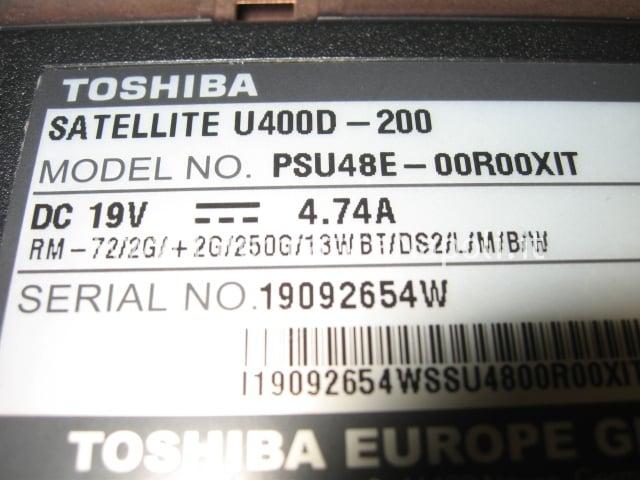 TOSHIBA Satellite U400D 200 PSU48E non si accende