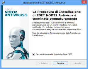 impossibile installare Eset NOD32
