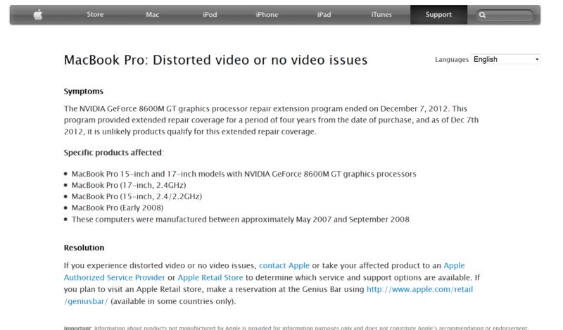 problema video macbook pro 15 17