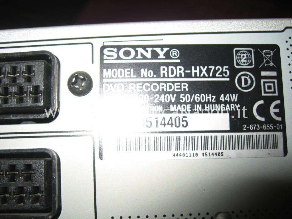 sony RDR-HX725 hard disk