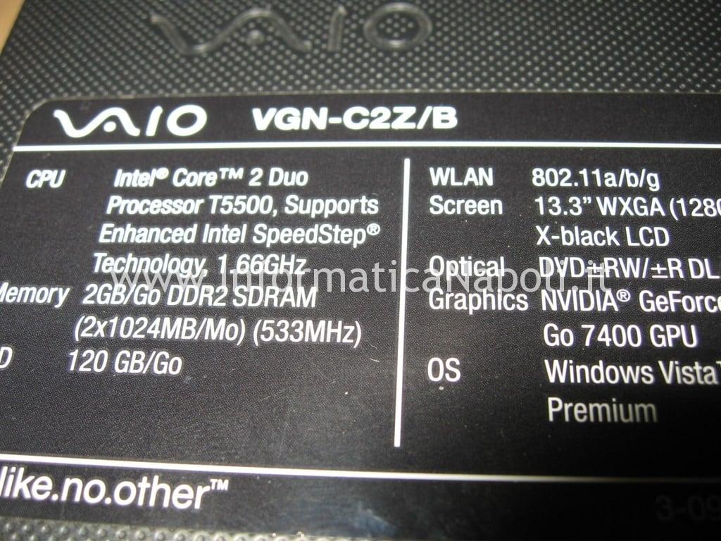 Sony Vaio C2Z artefizi schermo
