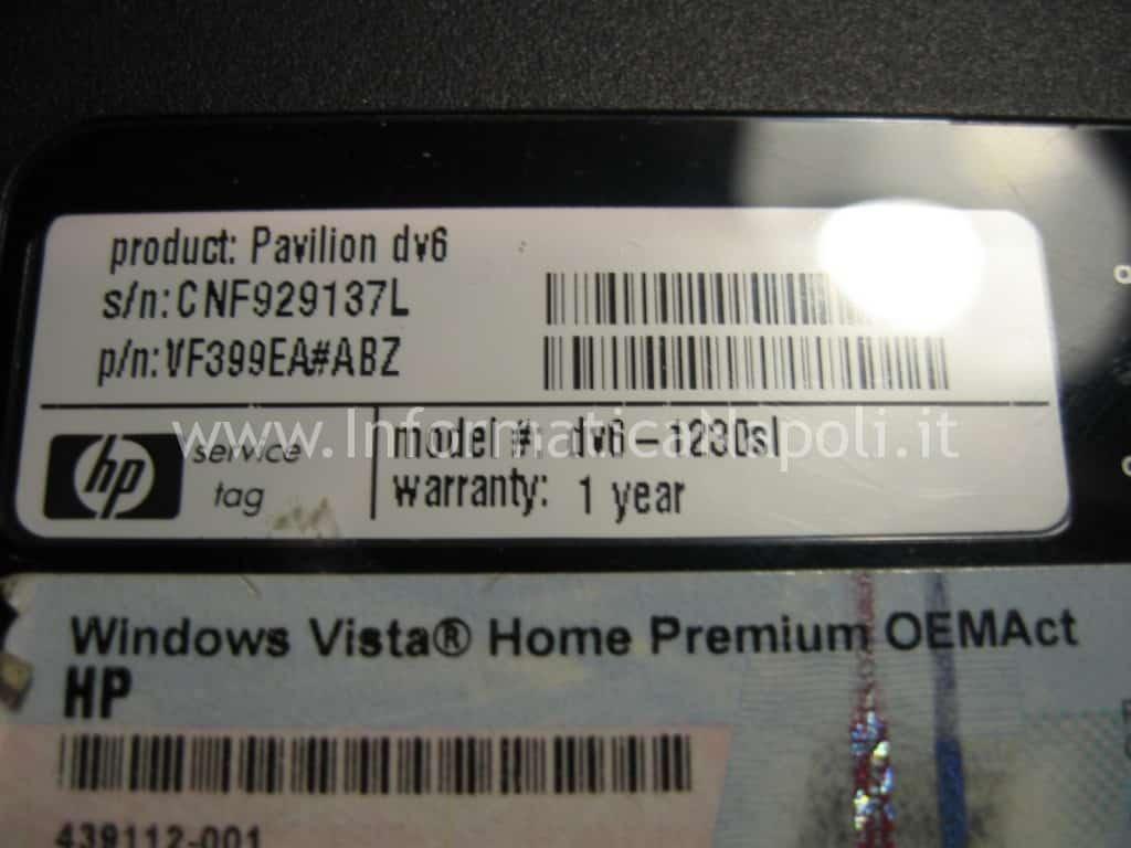problemi accensione HP Pavilion DV6 1230sl