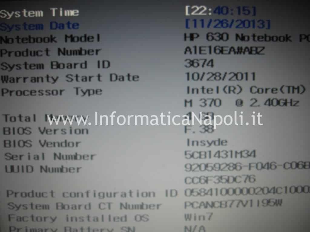 nuovo bios problemi HP 630