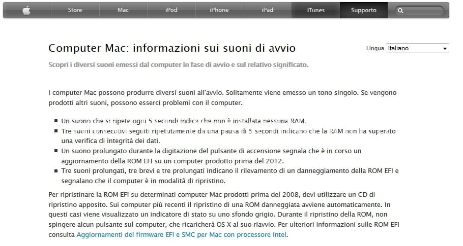 Informazioni Suoni Avvio MacBook Air 13 A1369 EMC 2469