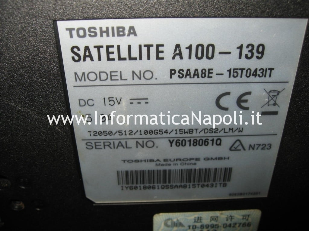 Pulizia pulire Toshiba A100 139 PSAA8E