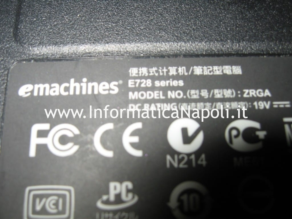 Problema accensione eMachine e728 zrga