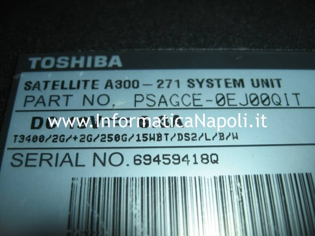 problema password avvio toshiba a300