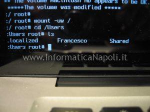 mac modificare password admin
