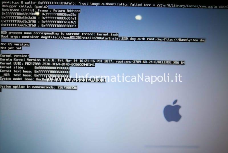 Tipica schermata di crash con GPU Panic su MacBook Pro