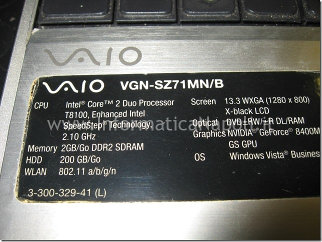 problema video Sony Vaio VGN-SZ71MN PCG-6W2M