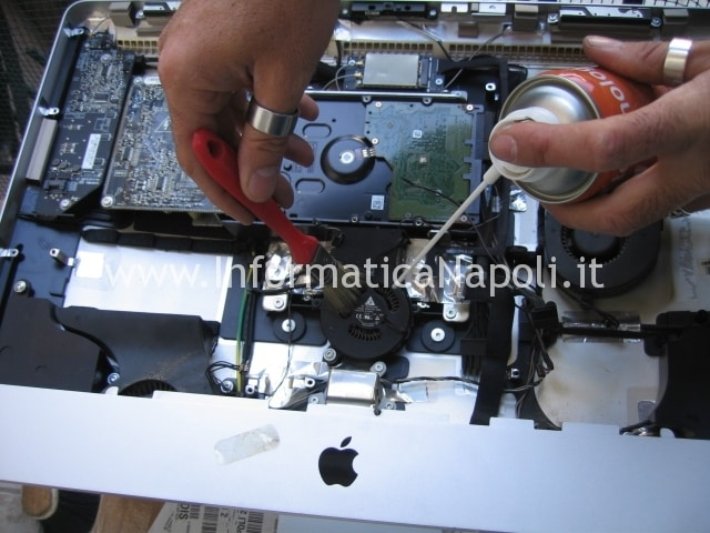 pulizia ventole apple imac A1311 riparato