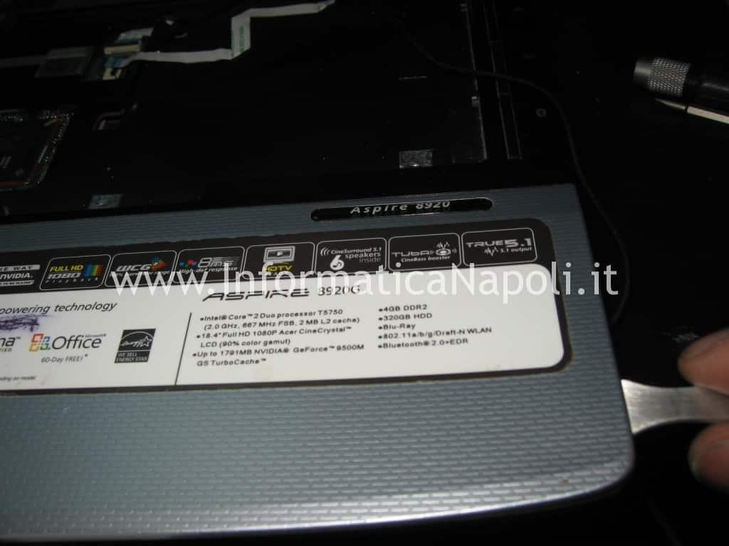 risolvere problema accensione Acer 8920