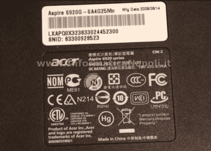 problema Acer 6920G si spegne nec/tokin