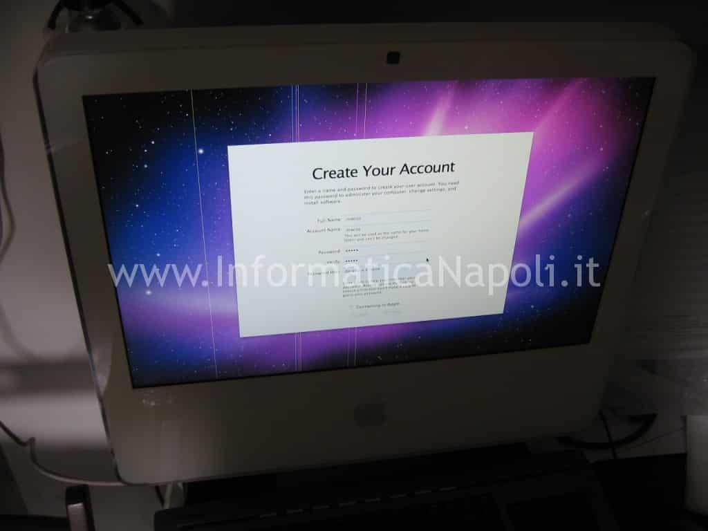 """sostituzione monitor schermo Apple iMac vintage 17"""" 2006"""