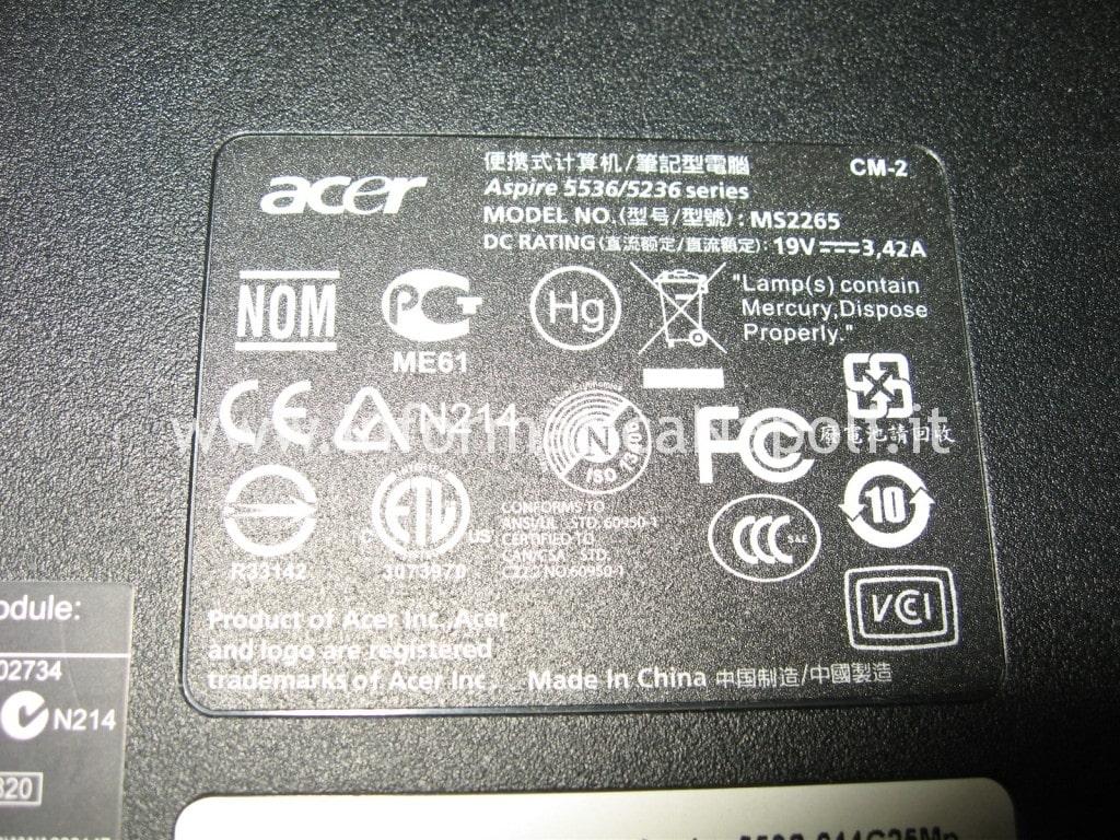 problemi accensione Acer aspire 5536 5236 MS2265