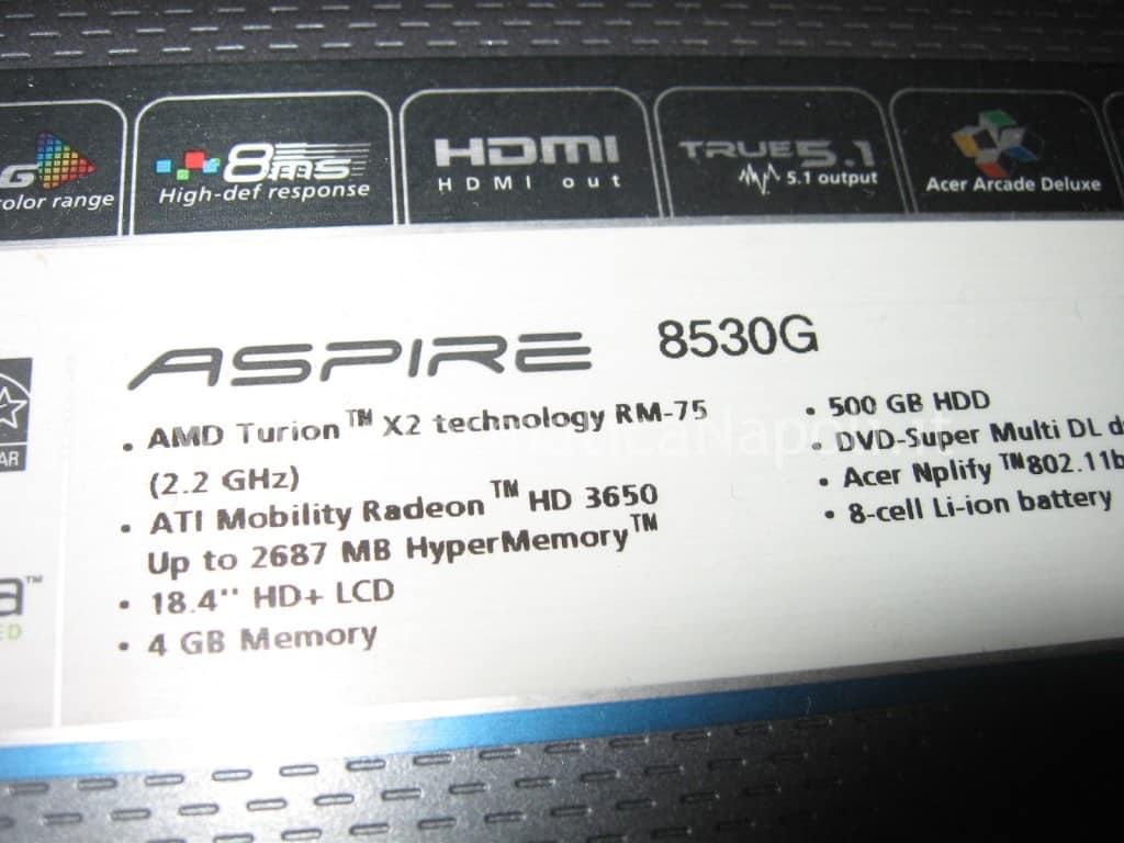problemi accensione Acer 8530 8530g MS2249
