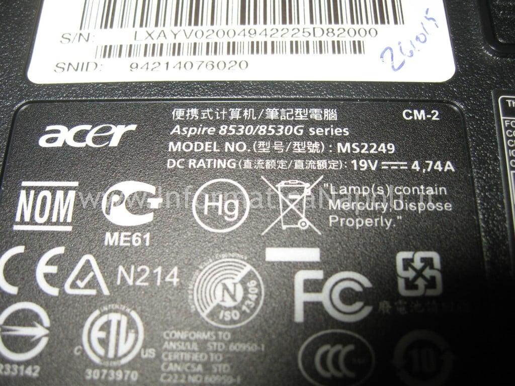schermo nero Acer 8530 8530g MS2249