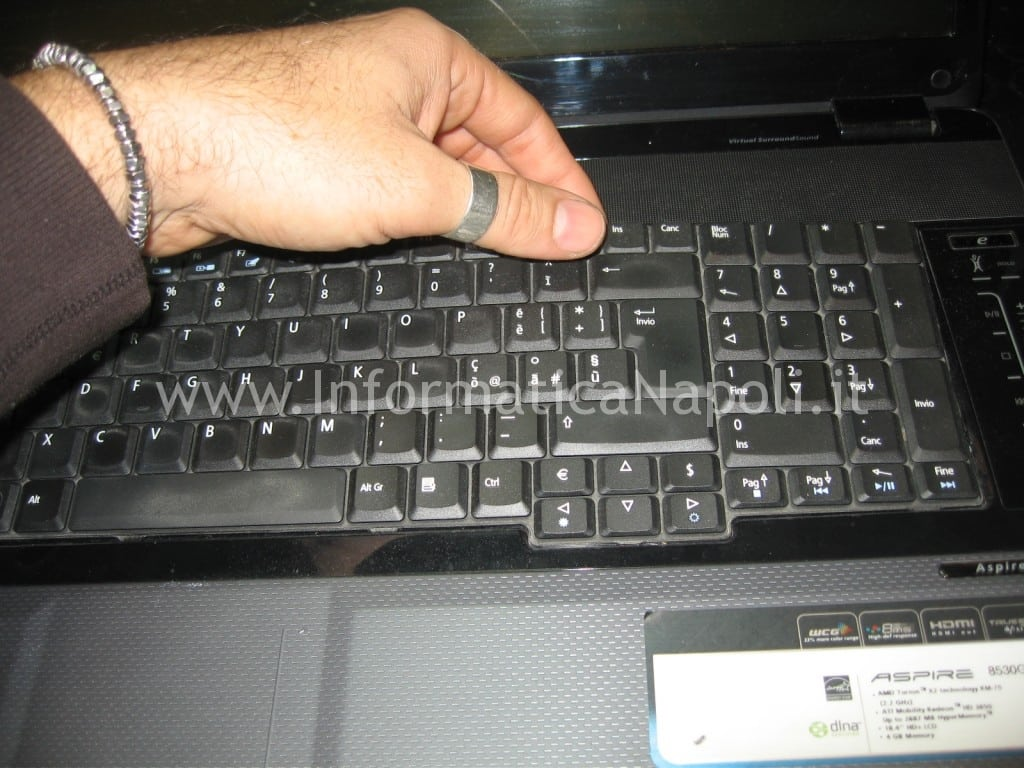 smontare tastiera video Acer 8530 8530g MS2249