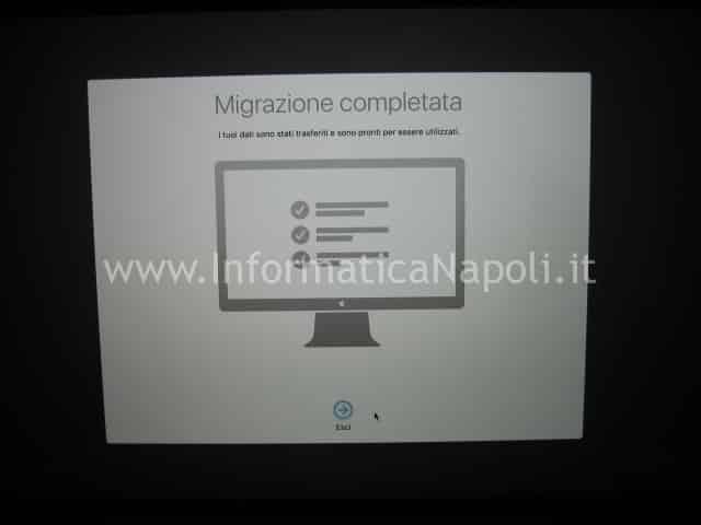 trasferimento migrazione macbook terminata