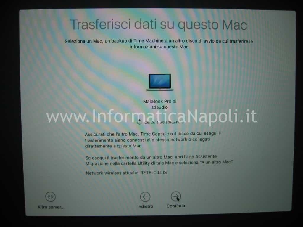 fasi migrazione dati MacOS
