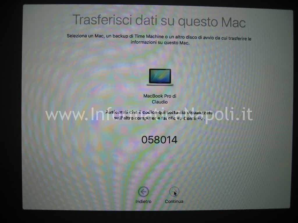 fasi migrazione dati MacOS generazione codice