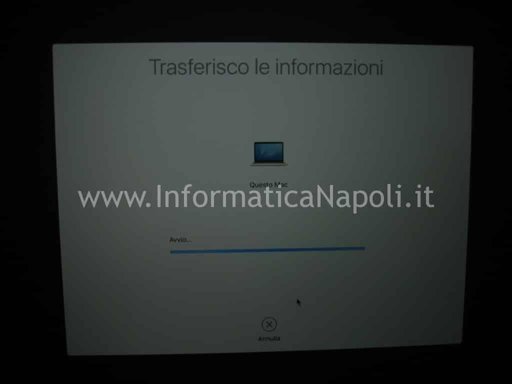 fasi migrazione dati MacOS avvio copia contenuti sul MacBook