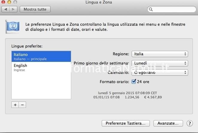 come modificare lingua e zona sistema apple macos macbook imac macpro