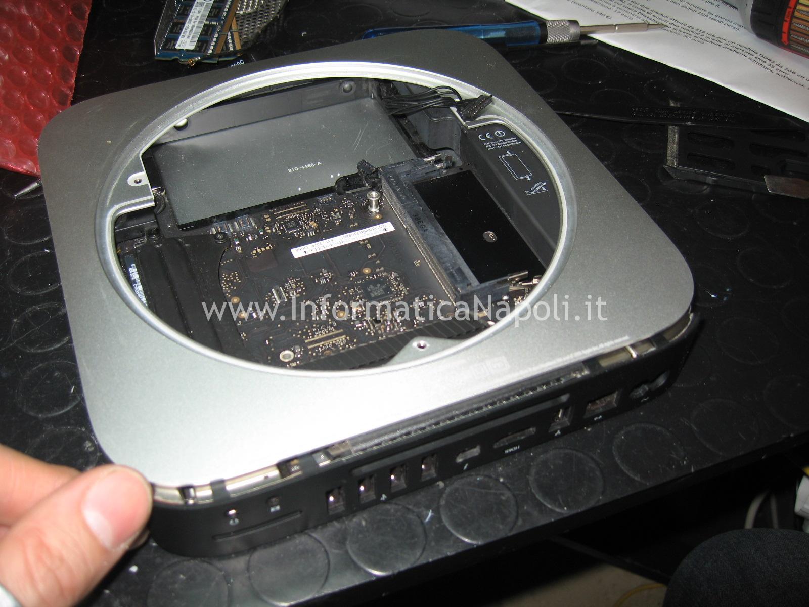 aprire smontare riparare scheda logica apple mac mini a1347