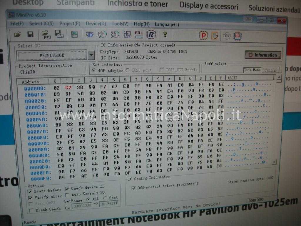 come programmare bios corrotto hp pavilion dv6