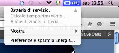 messaggio Batteria di Servizio macbook macbook pro air