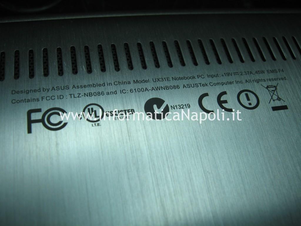 ripristino Asus zenbook UX31E 13