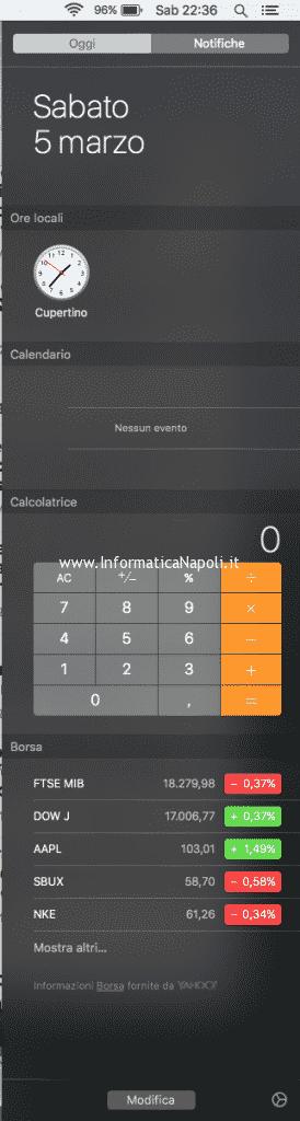 Come velocizzare Mac con OS X El Capitan riducendo notifiche widget