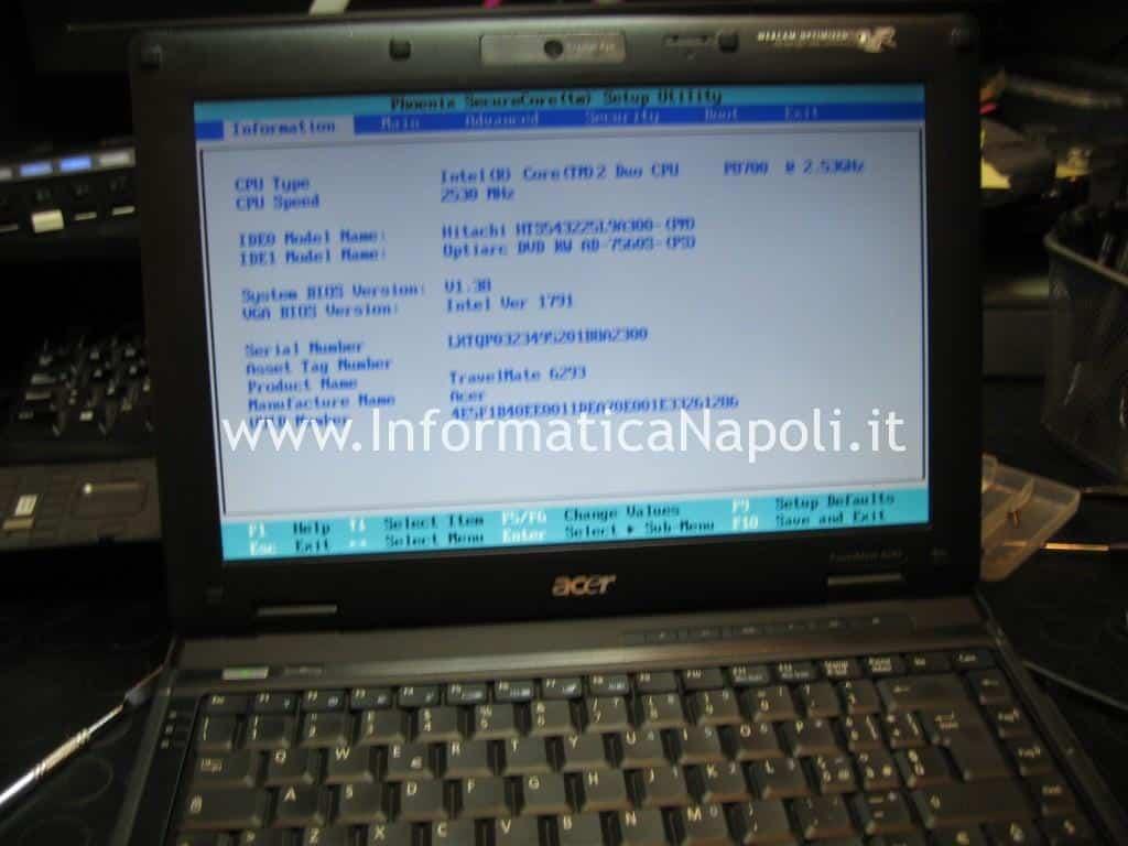 Acer TravelMate 6293 riparato funzionante