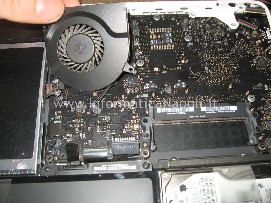 pulire sostituire ventola Apple MacBook A1342 13.3 EMC 2350