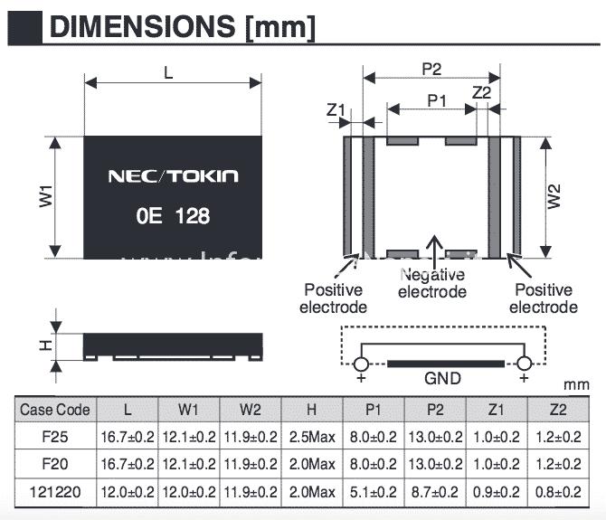 dimensioni Nec/Tokin 0E907