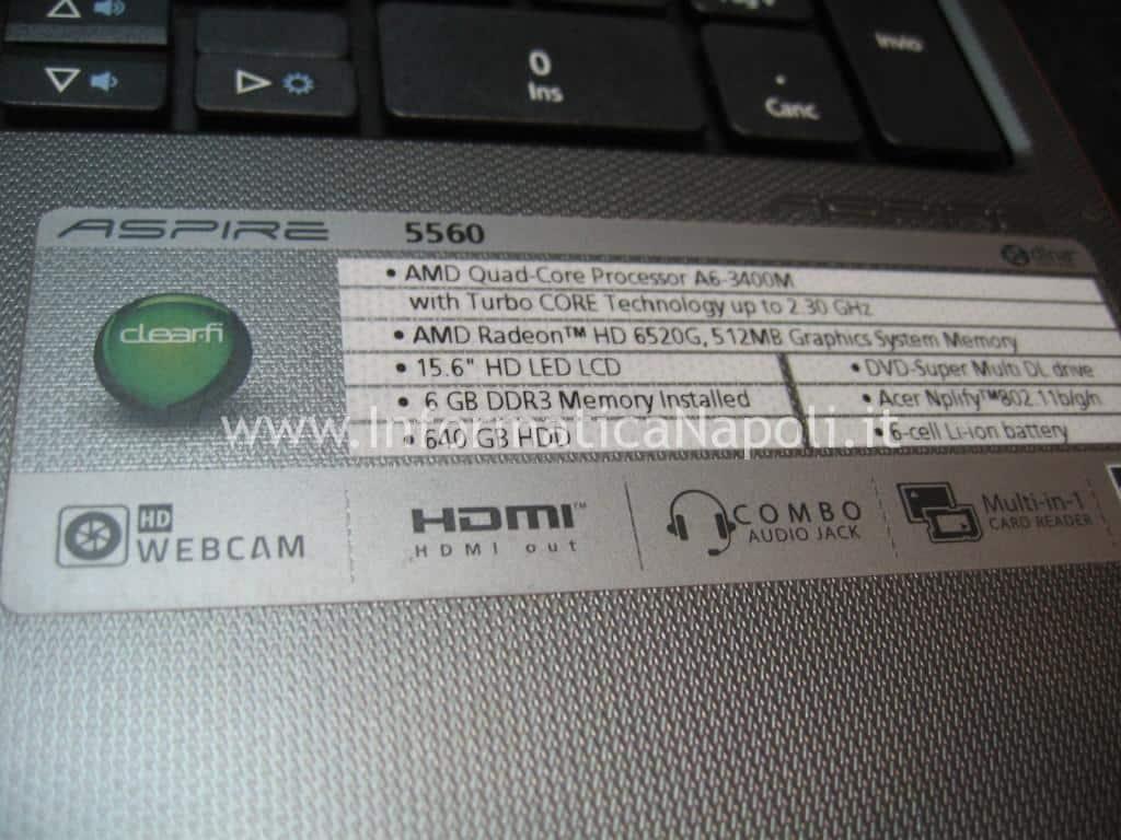 Acer Aspire 5560 problema avvio schermata nera bios non si accende