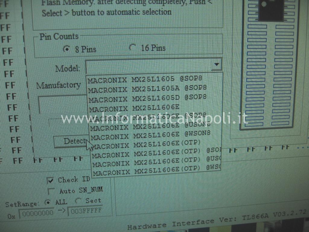 versione bios MX25L1606E acer 5560