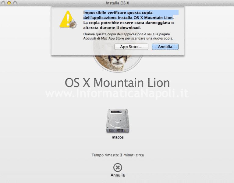 Impossibile verificare questa copia OS X
