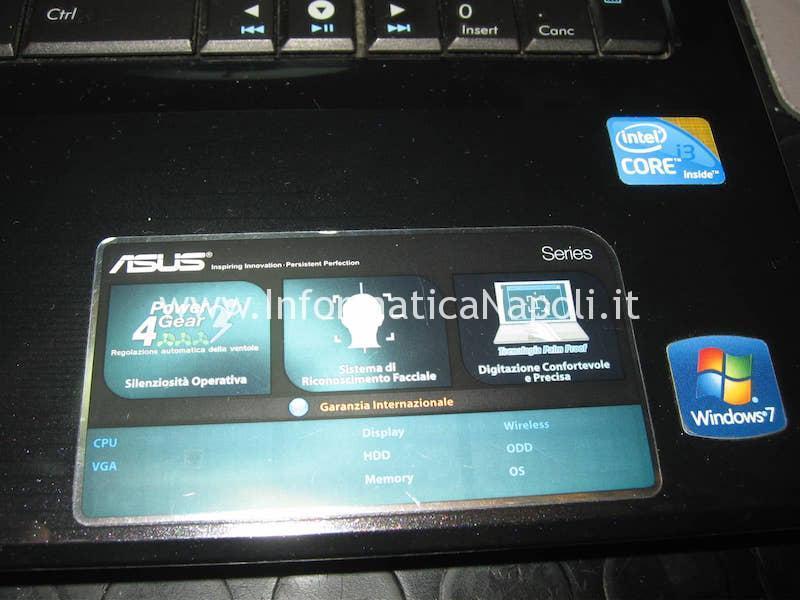 assistenza Asus A52F k52F A52F-SX072V