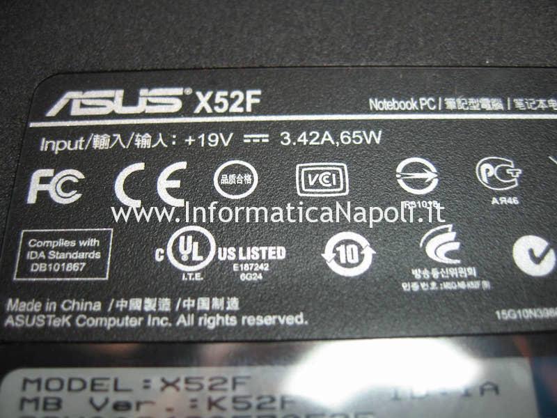 Asus K52F X52F-SX053V non si avvia
