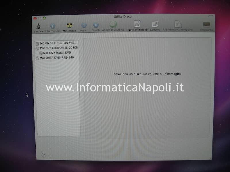 Formattazione Inizializzazione disco SSD iMac 20