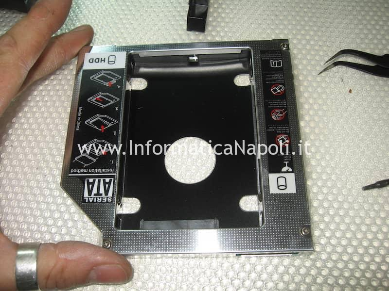 aggiornamento upgrade SSD su Apple iMac caddy SATA superdrive