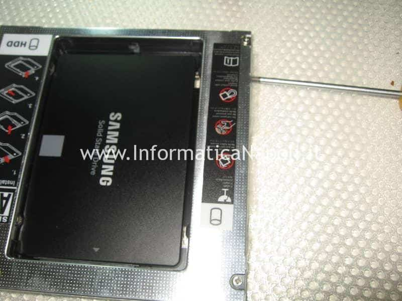 aggiornamento upgrade SSD su Apple iMac caddy SATA 2 superdrive