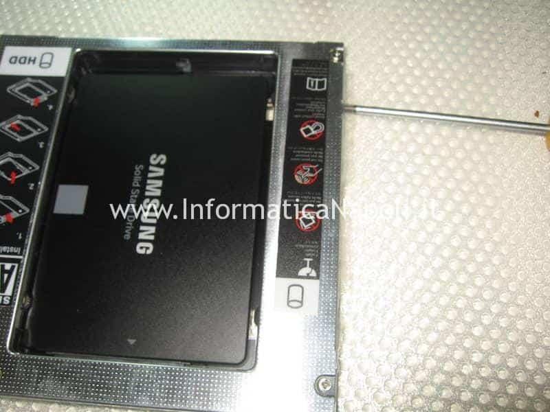 aggiornamento upgrade SSD su Apple iMac caddy SATA 2 superdrive