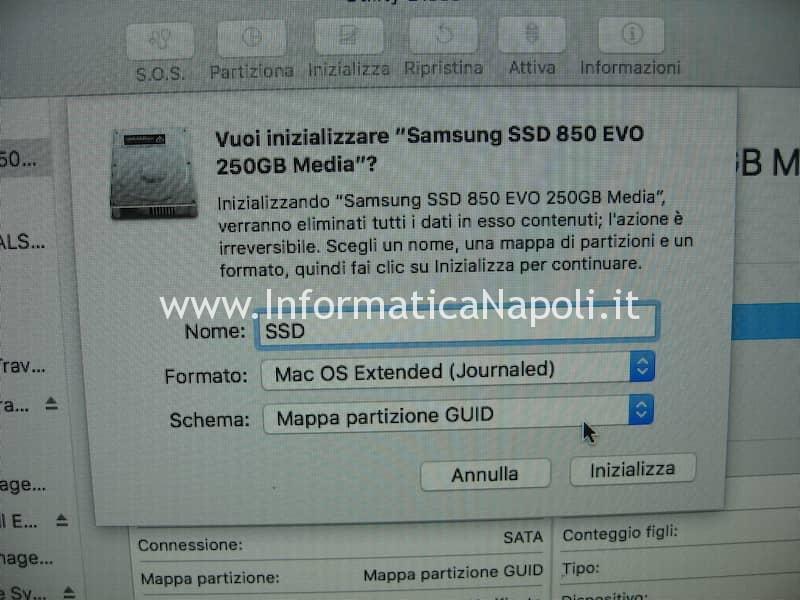 formattare inizializzare SSD iMac MacBook Mac Book